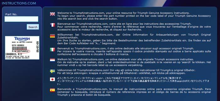 Triumphinstructions.com, il sito online dedicato alle istruzioni sugli accessori originali Triumph