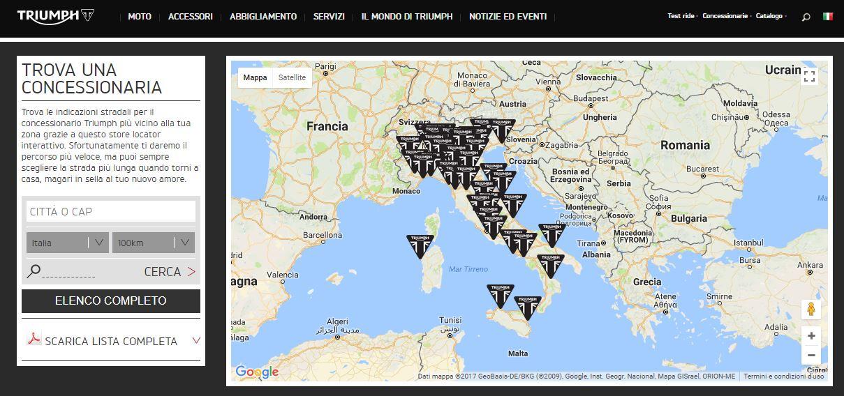 Elenco delle Concessionarie Triumph in Italia