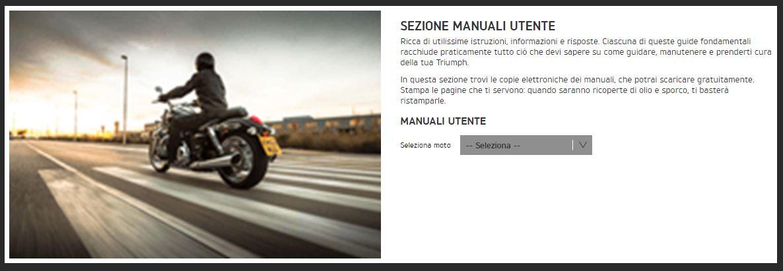 La sezione manuali utente Triumph