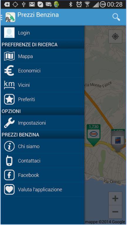 Il MENU OPZIONI dell' App Prezzi Benzina