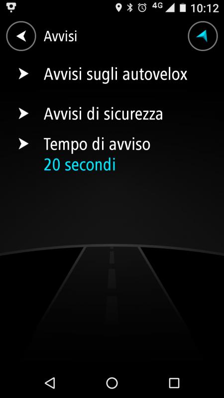 Sezione AVVISI dell' App TomTom Autovelox