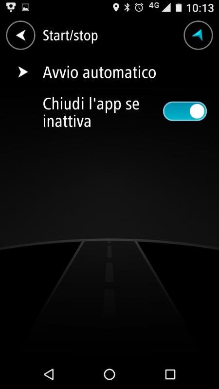 Seziona START-STOP dell' App TomTom Autovelox