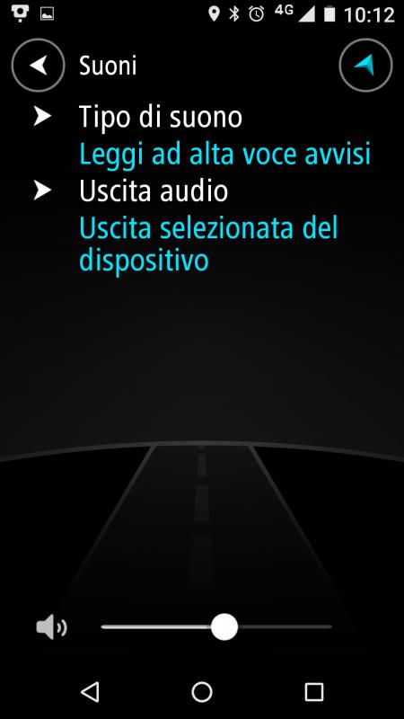 Sezione SUONI dell' App TomTom Autovelox
